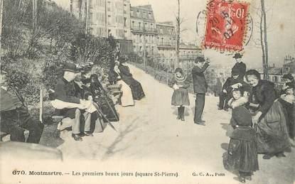 """CPA FRANCE 75018 """"Paris, Montmartre, les premiers beaux jours, Square Saint Pierre"""""""