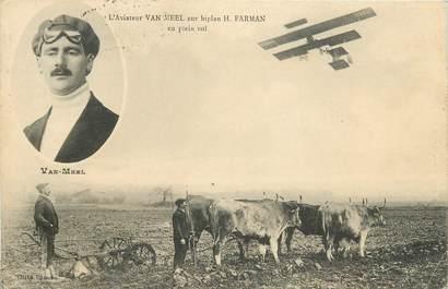 "CPA AVIATION ""L'Aviateur Van Meel sur biplan Farman en plein vol"""