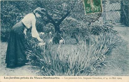 """CPA FRANCE 75018 """"Paris, le vieux Montmartre, les premiers iris Impasse Girardon"""" / Série 1089, N° 7"""