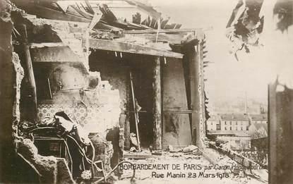 """CPA FRANCE 75019  """"Paris, Rue Manin, 1918, bombardement de Paris"""""""