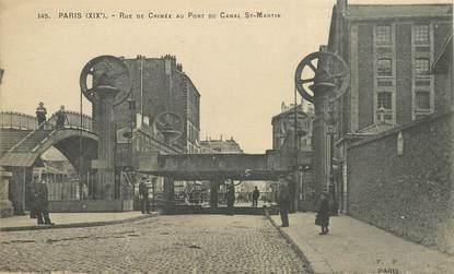 """CPA FRANCE 75019  """"Paris, la rue de Crimée au pont du Canal Saint Martin"""""""