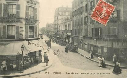 """CPA FRANCE 75019  """"Paris, la rue de Joinville et rue de Flandre"""""""