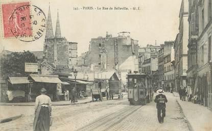 """CPA FRANCE 75019  """"Paris, la rue de Belleville"""" / TRAMWAY"""