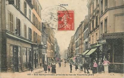 """CPA FRANCE 75020 """"Paris, rue Ramponneau prise de la rue de Tourtille"""""""