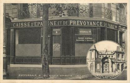 "CPA FRANCE 75020 ""Paris, banque Caisse d'Epargne, avenue Gambetta"""