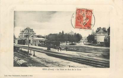 "/ CPA FRANCE 61 ""Sees, la gare et rue de la gare"""
