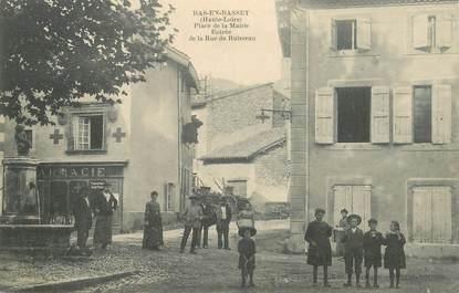 """CPA FRANCE 43 """"Bas en Basset, place de la mairie, la rue du Ruisseau"""""""