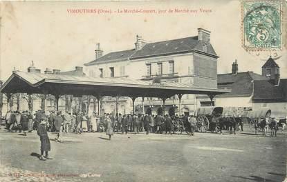 """/ CPA FRANCE 61 """"Vimoutiers, le marché couvert, jour de marché aux veaux"""""""