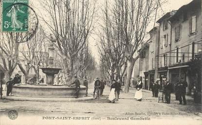 "/ CPA FRANCE 30 ""Pont Saint Esprit, boulevard Gambetta"""
