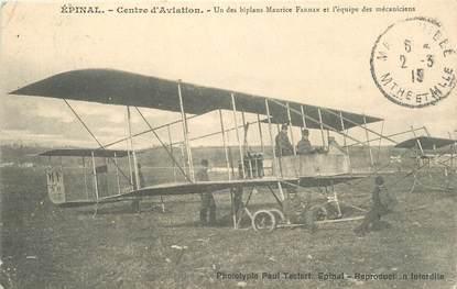 "CPA FRANCE 88 ""Epinal, le centre d'aviation, biplan M. Farman"""