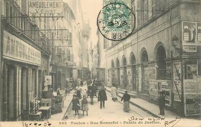 """CPA FRANCE 83 """"Toulon, la rue Bonnefoi, palais de justice"""""""