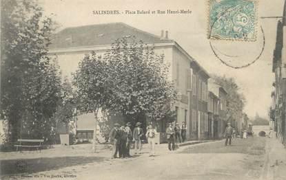 "/ CPA FRANCE 30 ""Salindres, place Balard et rue Henri Merle"""