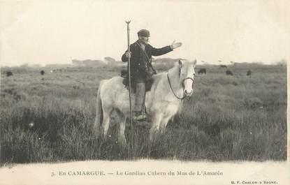 """/ CPA FRANCE 13 """"En Camargue, le gardian Cabern du Mas de l'Amarée"""""""