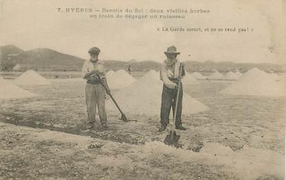 """CPA FRANCE 83  """"Hyères, la récolte du sel"""""""