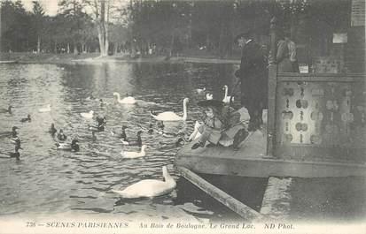 """CPA FRANCE 75 """"Paris, Au bois de Boulogne, le Grand Lac"""" / SCENES PARISIENNES"""