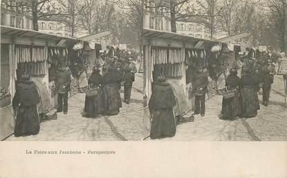 """CPA FRANCE 75 """"Paris, la Foire aux Jambons"""" / CARTE STEREO"""