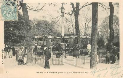 """CPA FRANCE 75 """"Paris, Champs Elysées, les chevaux de bois"""" / MANEGE"""