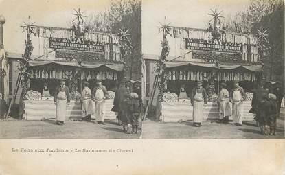 """CPA FRANCE 75 """"Paris, La Foire aux Jambons, le saucisson de cheval"""" CARTE STEREO"""
