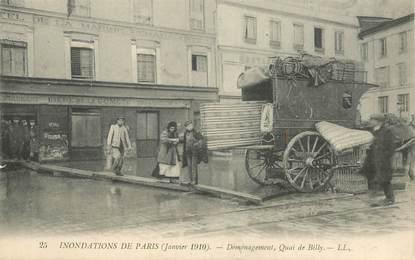 """CPA FRANCE 75 """"Paris, Inondations 1910, déménagement quai de Billy"""""""
