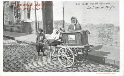"""CPA FRANCE 75 """"Paris, La Joueuse d'Orgues"""" / PUB CHOCOLAT LORRAIN, NANCY"""