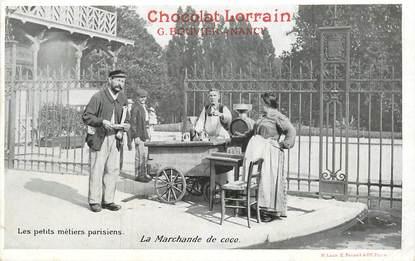 """CPA FRANCE 75 """"Paris, La Marchande de coco"""" / PUB CHOCOLAT LORRAIN, NANCY"""