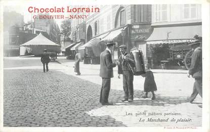 """CPA FRANCE 75 """"Paris, Le Marchand de plaisir"""" / PUB CHOCOLAT LORRAIN, NANCY"""