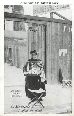 """CPA FRANCE 75 """"Paris, La Marchande d'Objets de piété"""" / PUB CHOCOLAT LOMBART"""