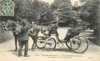 """CPA  FRANCE  75 """"Paris Moderne, les femmes cochers"""""""