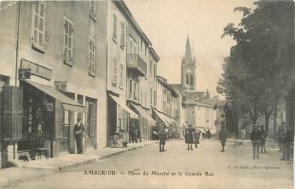 """/ CPA FRANCE 01 """"Ambérieu, place du marché et la grande rue"""""""