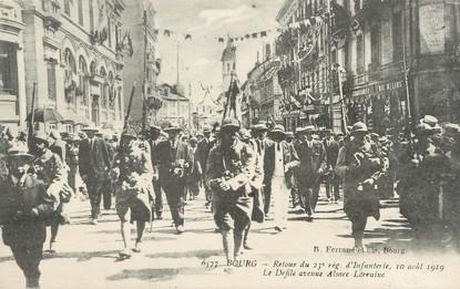 """/ CPA FRANCE 01 """"Bourg, retour du 23ème régiment d'Infanterie, le défilé avenue Alsace Lorraine"""""""