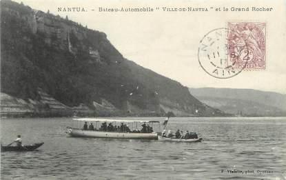 """/ CPA FRANCE 01 """"Nantua, bateau automobile, ville de Nantua et le grand rocher"""""""