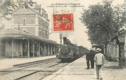 """CPA FRANCE 69 """"Villefranche, la gare"""" / TRAIN"""