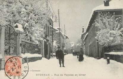 """/ CPA FRANCE 01 """"Oyonnax, rue de Veyziat en hiver"""""""