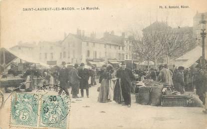 """/ CPA FRANCE 01 """"Saint Laurent Les Macon, le marché"""""""