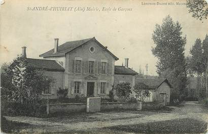 """/ CPA FRANCE 01 """"Saint André d'Huiriat, mairie, école de garçons"""""""