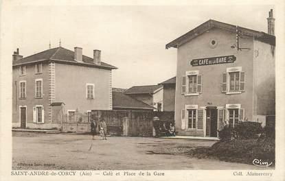 """/ CPA FRANCE 01 """"Saint André de Corcy, café et place de la gare"""""""