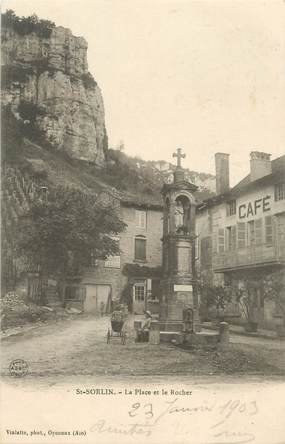 "/ CPA FRANCE 01 ""Saint Sorlin, la place et le rocher"""