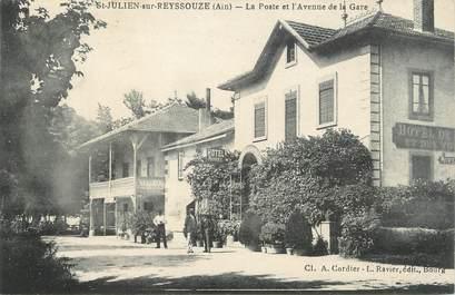 """/ CPA FRANCE 01 """"Saint Julien sur Reyssouze, la poste et l'avenue de la gare"""""""