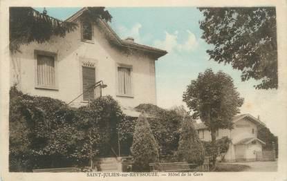 """/ CPA FRANCE 01 """"Saint Julien sur Reyssouze, hôtel de la gare"""""""