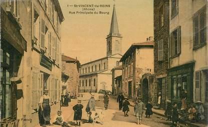 """CPA FRANCE 69 """"Saint Vincent de Reins, rue principale du bourg"""""""