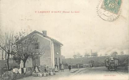"""CPA FRANCE 69 """"Saint Laurent d'Agny, la Gare"""" / TRAIN"""