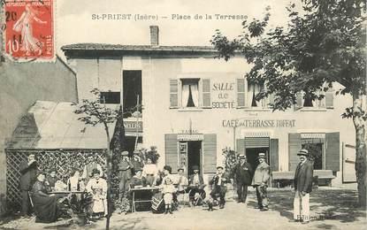 """CPA FRANCE 69 """"Saint Priest, place de la Terrasse, Café de la Terrasse Roffat"""""""