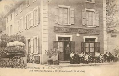 "CPA FRANCE 69 ""Saint Romain en Gier, Café restaurant Catignon"""