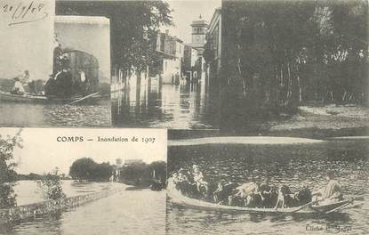 """CPA FRANCE 83 """"Comps, Inondations 1907"""""""