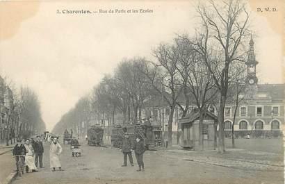 """/ CPA FRANCE 94 """"Charenton, rue de Paris et les écoles"""" / TRAMWAY"""