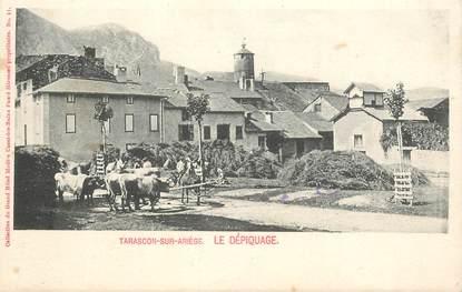 """CPA  FRANCE 09 """"Tarascon sur Ariège, lé dépiquage"""""""