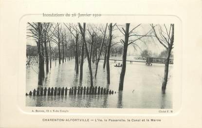 """/ CPA FRANCE 94 """"Charenton Alfortville, l'ile, la passerelle, le canal et la Marne"""""""
