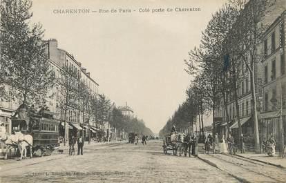 """/ CPA FRANCE 94 """"Charenton, rue de Paris"""" / TRAMWAY"""