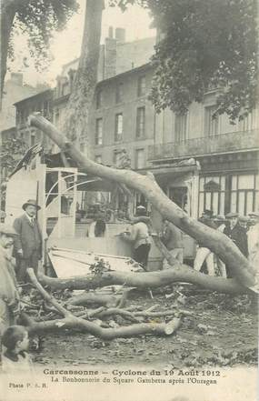 """CPA  FRANCE 11 """"Carcassonne, cyclone, 1912"""""""