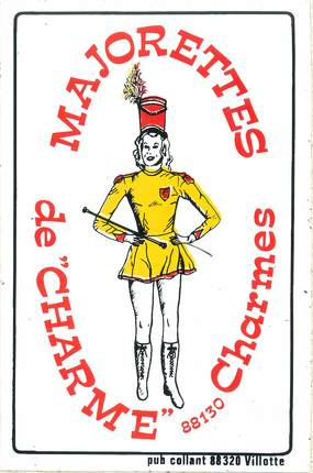 "/ CPSM FRANCE 88 ""Charmes "" / MAJORETTE / CARTE ADHESIVE"